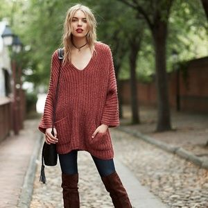 Free People Slouchy Sweater Pocket Tunic Stripe XS